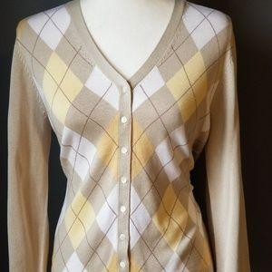 BROOK'S BROTHERS tan argyle silk sweater cardigan